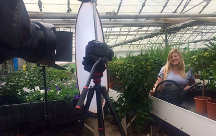 Filming at the nursery